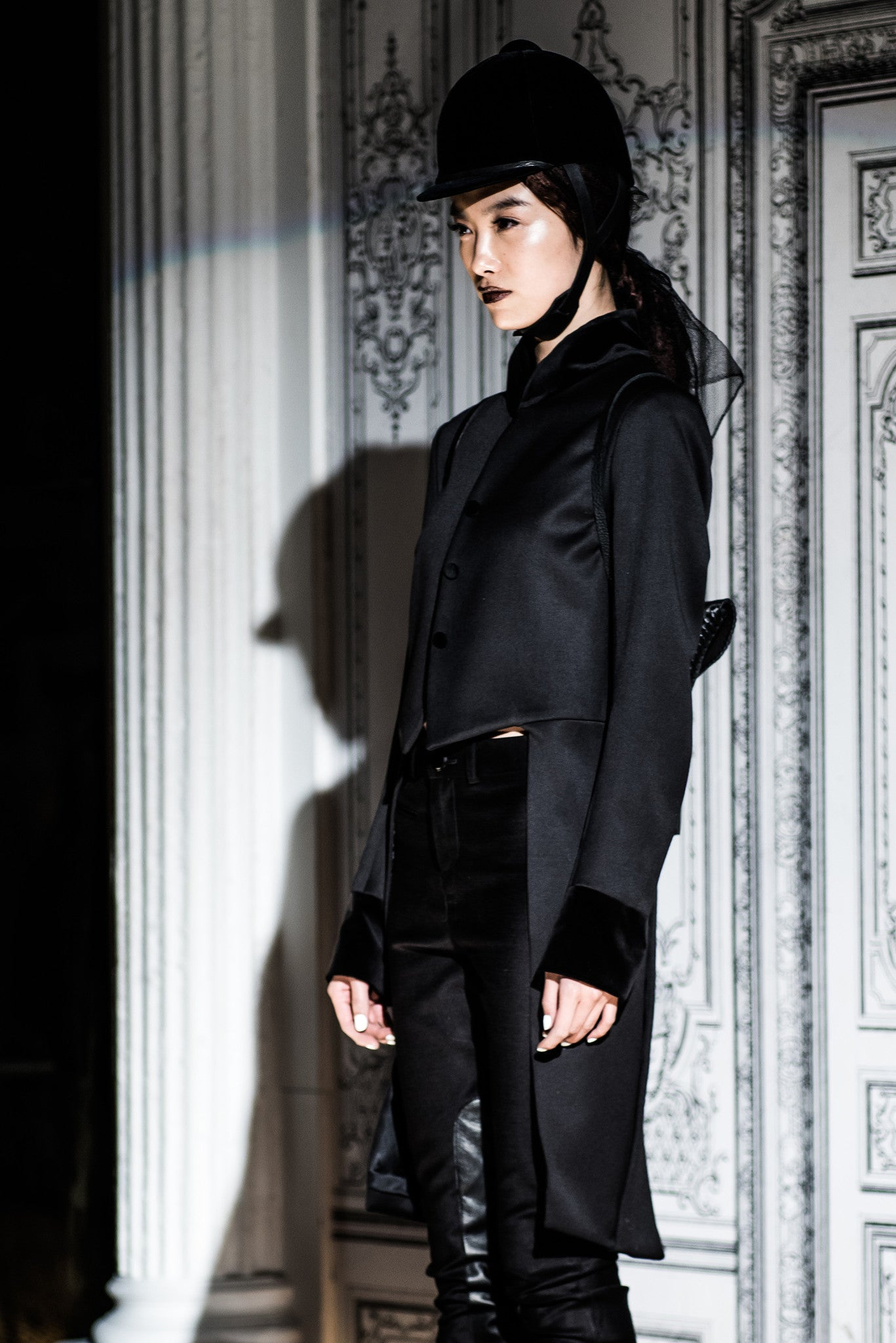 Wendy Nichol Fashion Runway Show Carl Jung The Hearo Riding Coat Wool velvet Collar & Riding Equestrian Pants  IMG Model Wendy Nichol Clothing Fashion Designer Handmade in NYC AW14 Ready to Wear Fashion Runway Show Custom Tailoring Made to Measure