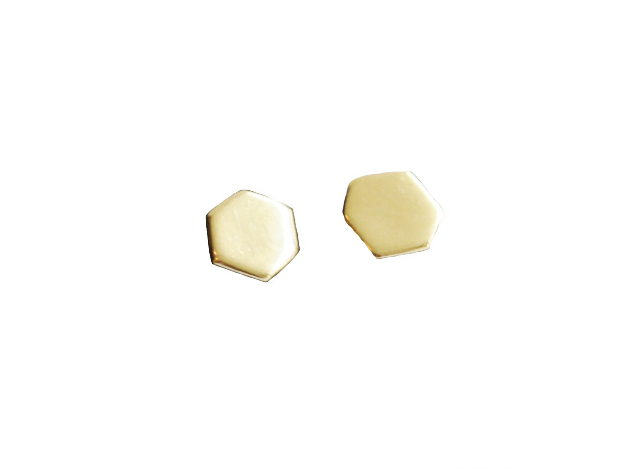 Hexagon Shape Stud Earrings Wendy Nichol Fine Jewelry Designer solid 14k Gold Yellow Rose White Sterling Silver simple delicate geometric studs Handmade in NYC New York City First Second Ear Hole Piercing Lower Lobe Upper Lobe studs