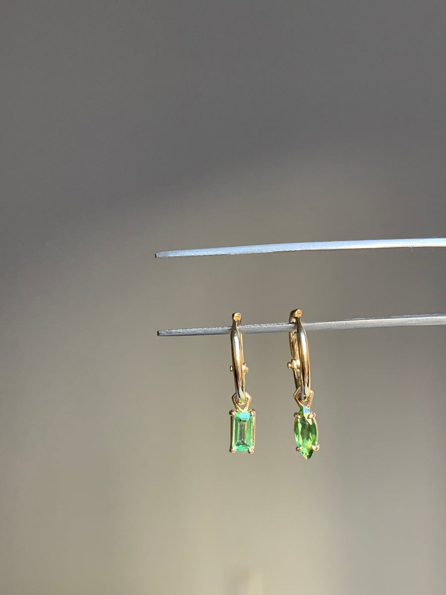 Tsavorite Marquise dangle gem on 12mm hoop
