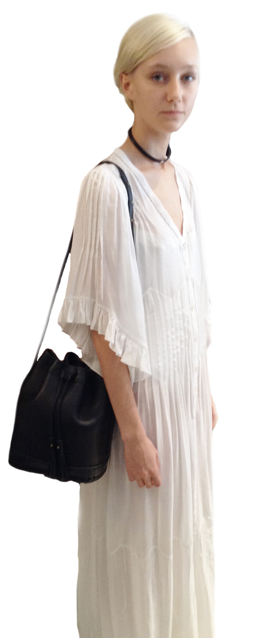 Juliette Fazekas IMG Model SS15 Space Master Fashion Show Leather Small Carriage Bag Wendy Nichol Handbag Purse Designer Handmade in NYC New York City Bucket Bag Drawstring Draw string Pouch small fringe tassel Adjustable Durable Strap High Quality Leather