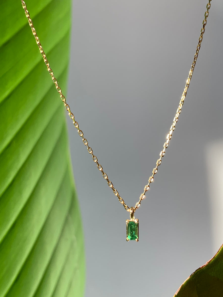 Tsavorite Baguette Cut Gem Necklace