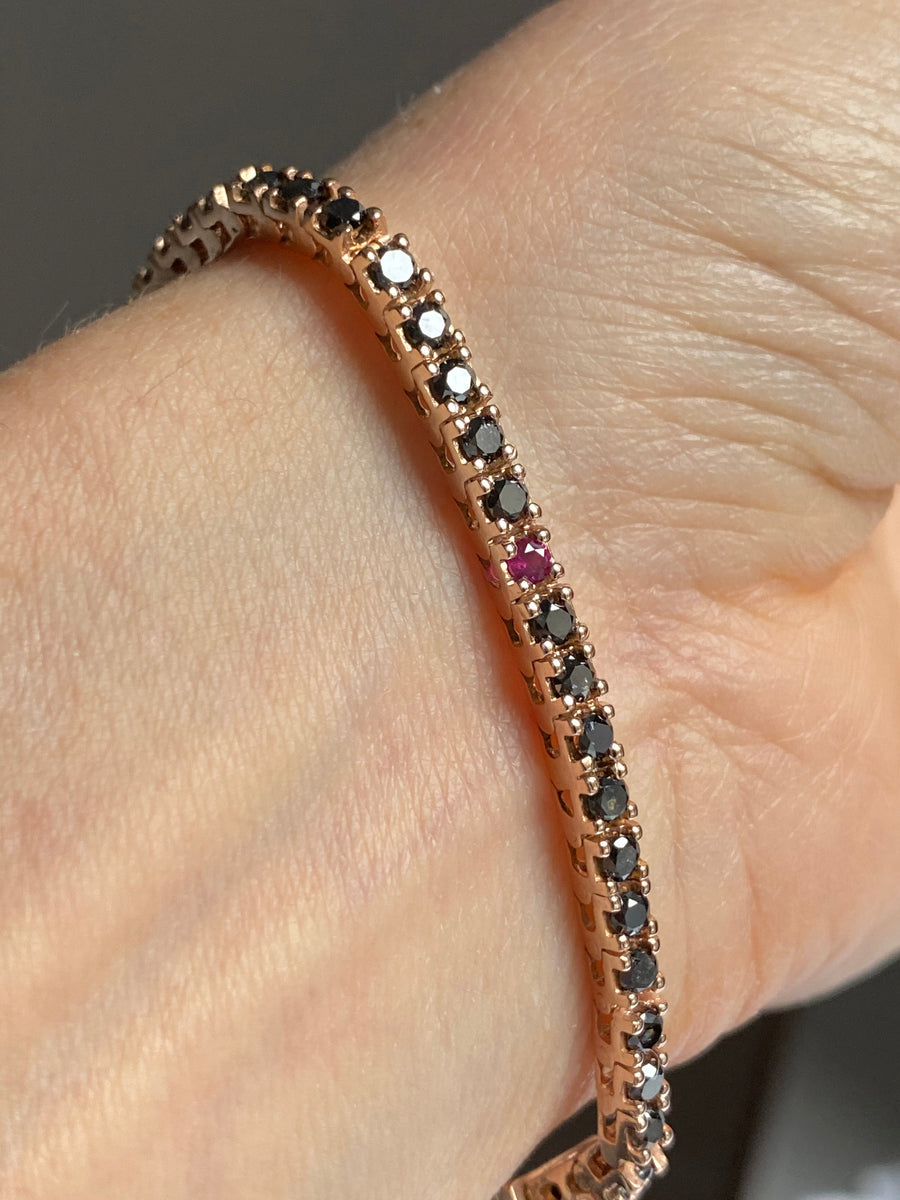 2.4mm Black Diamond Tennis Bracelet