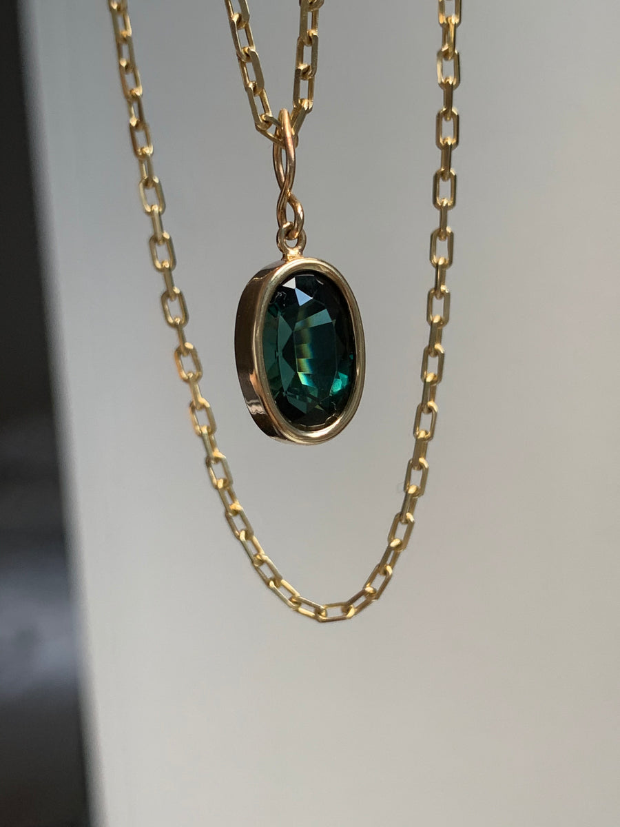 Oval Cut Tourmaline Pendant Necklace
