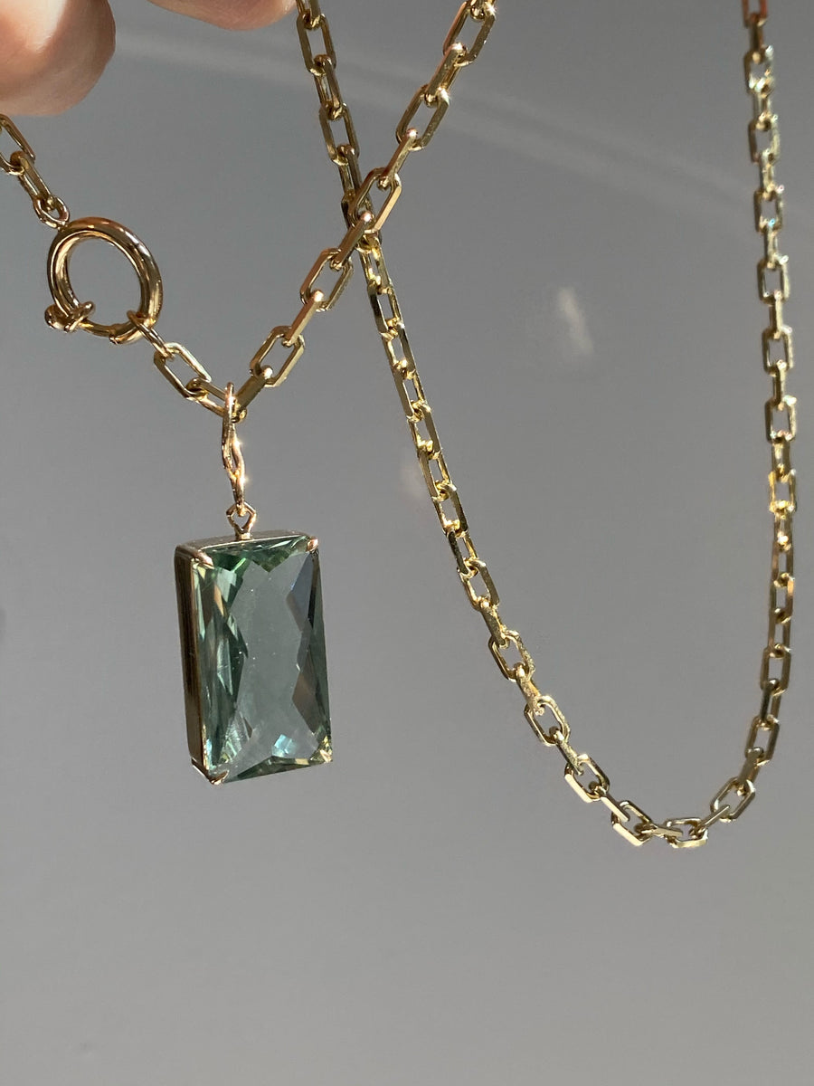 Large Green Amethyst Emerald Cut Pendant Necklace