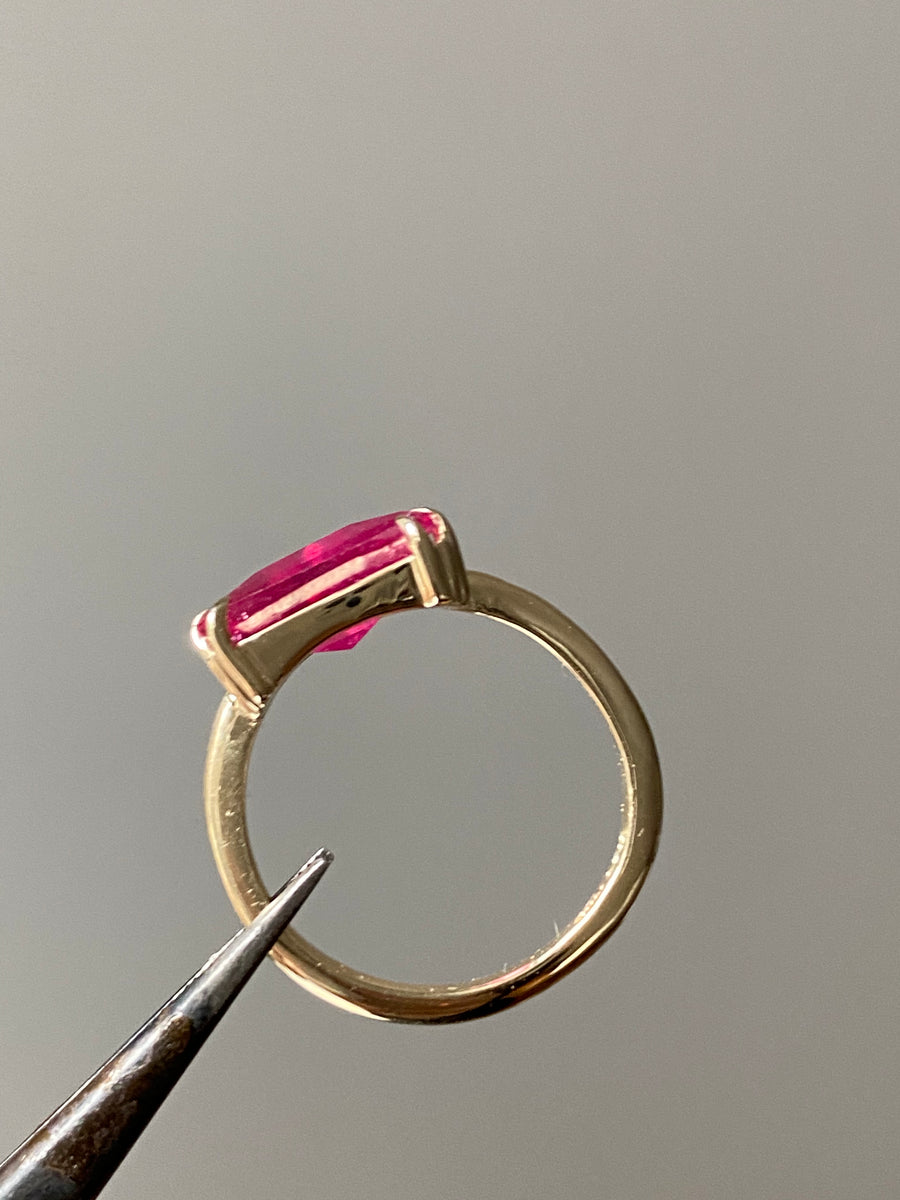 3 Carat Ruby Pyramid Ring