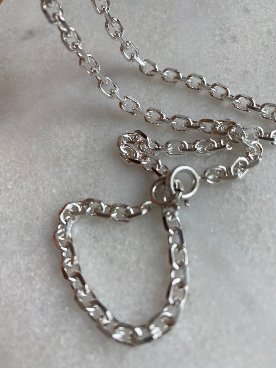 Elongated Diamond Cut Cable Chain 4.2mm Sterling Silver Necklace