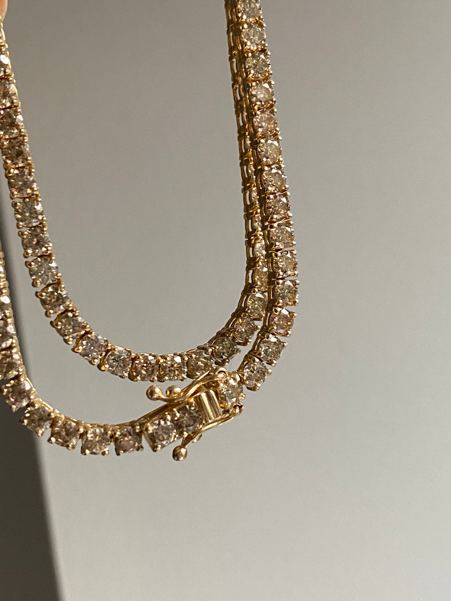 2.9mm Champagne Diamond Tennis Necklace