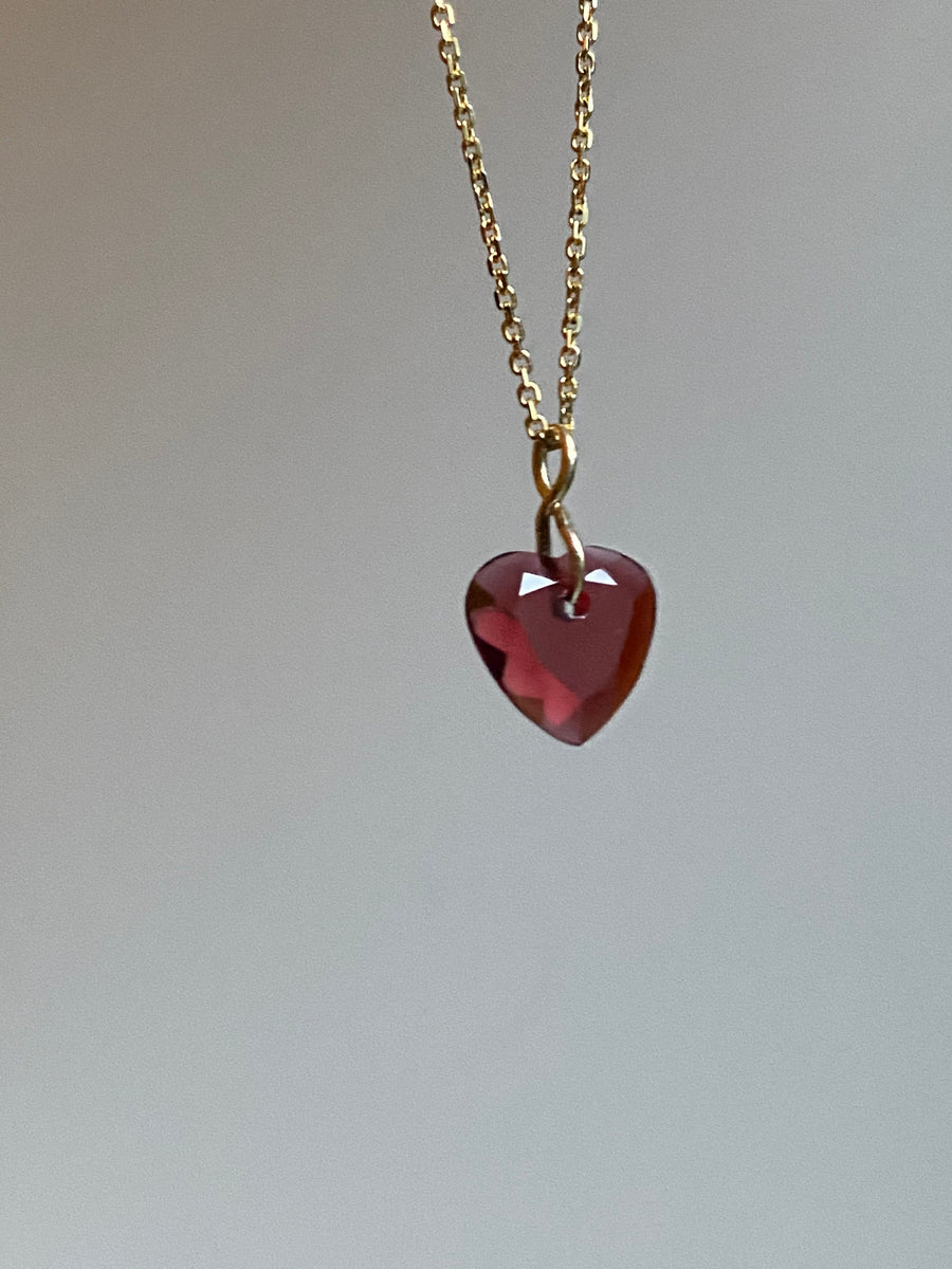 Garnet Heart Gem Necklace