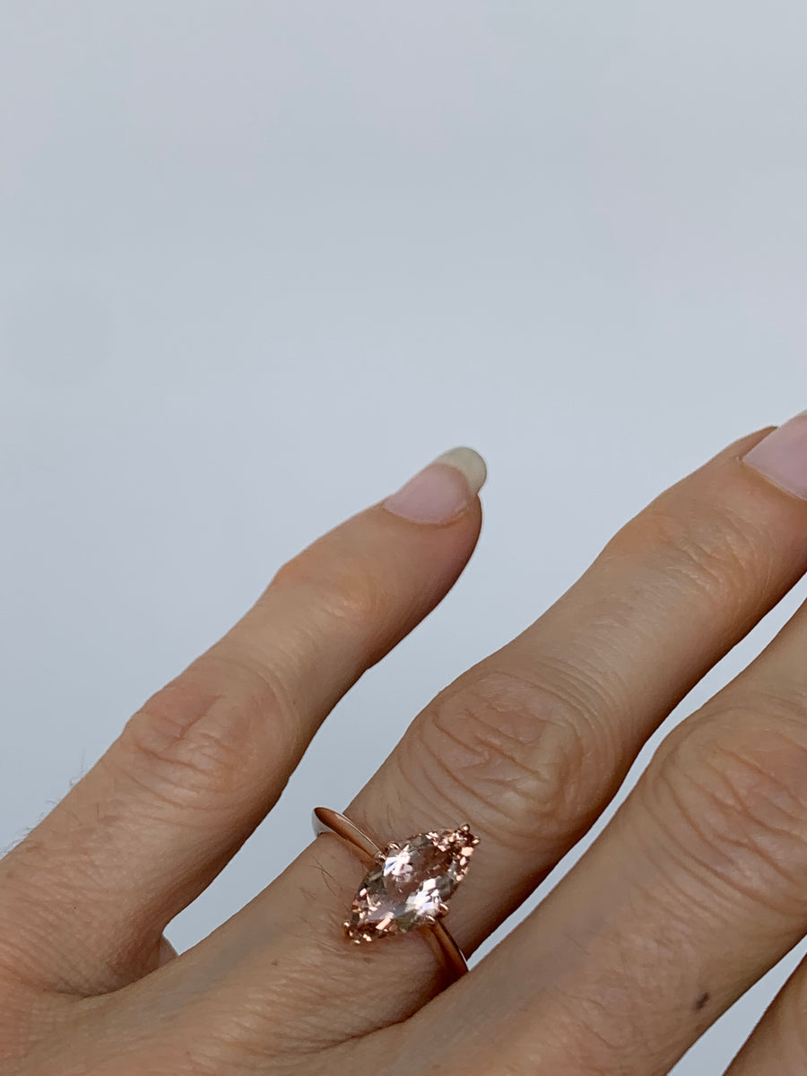 Rose Morganite Marquis RIng