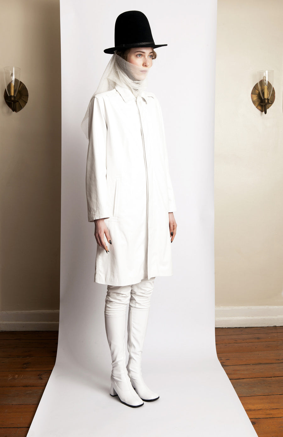 Basia IMG Model Wendy Nichol Clothing Designer Ready to Wear Fashion Runway Show AW13 Witch Lessons Winter White Plonge Leather Coat White Leather Pants Tight Handmade in NYC Custom Tailoring Fitting Size Color Fabric Handmade in NYC Made to Measure custom White witch El Topo felt hat