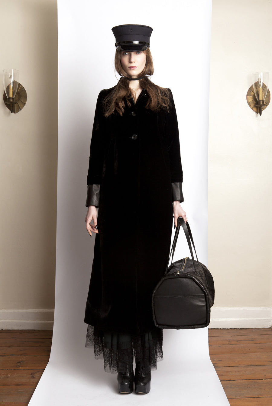 Basia IMG Model Wendy Nichol Clothing Fashion Designer Ready to Wear Fashion Show AW13 Witch Lessons Black Silk Velvet Victorian Coat with Leather Trim Custom Fabric Color Handmade in NYC New York City Custom Tailoring Fitting Size Color Fabric Made to Measure goth gothic edwardian Triangle patchwork travel bag victorian slip dress lace trim