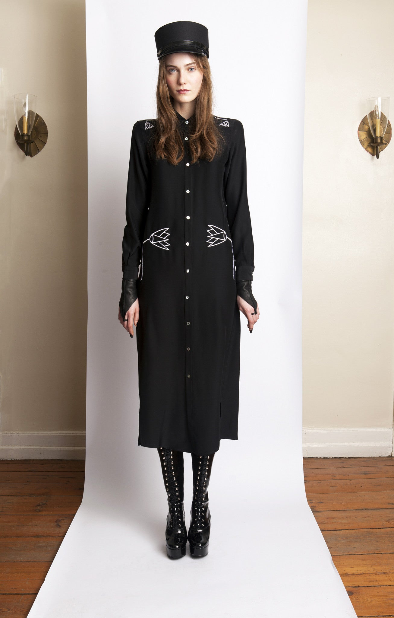 Basia IMG Model Wendy Nicol Clothing Fashion Designer Ready to Wear Fashion Runway Show AW13 Witch Lessons Embroidered Egyptian Lotus button up long sleeve silk charmeuse Blouse Dress Black Handmade in NYC New york city Custom Tailoring Fitting Size Fabric Color Made to Measure