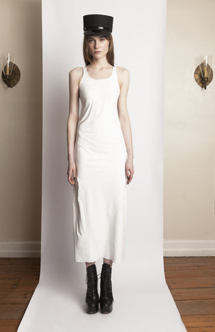 Basia IMG Model Wendy Nicol Clothing Fashion Designer Ready to Wear Fashion Runway Show AW13 Witch Lessons Fall Winter White Plonge Soft Tight Leather Tank Fitted Slip Dress Handmade in NYC new york city Custom Tailoring Fitting Size Fabric Color Made to Measure White witch bridesmaid dress