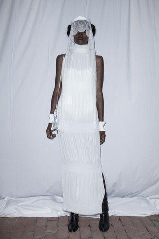 Wendy Nichol First Fashion Show Saints of the Zodiac Virgo White Dress model Zuri Tibby