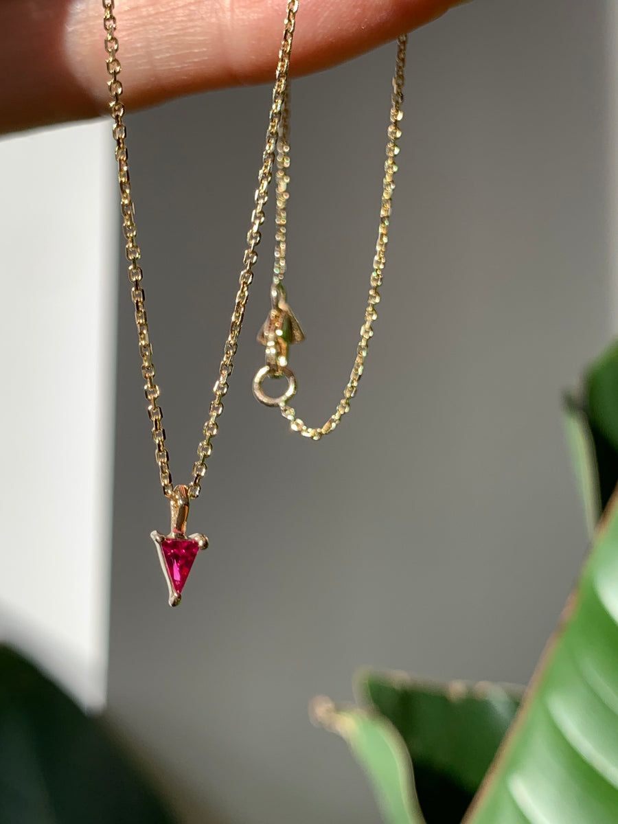 Triangle Ruby Pendant Necklace