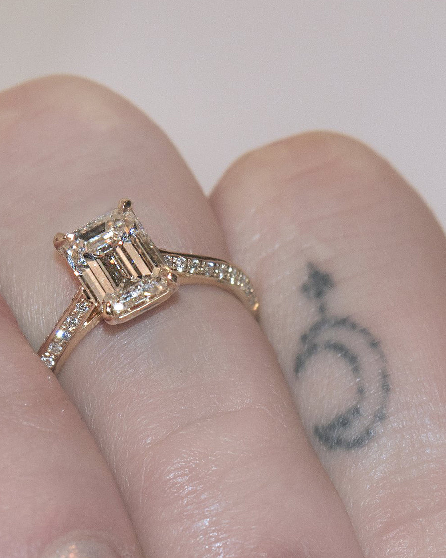 Knife Edge Diamond Engagement Ring