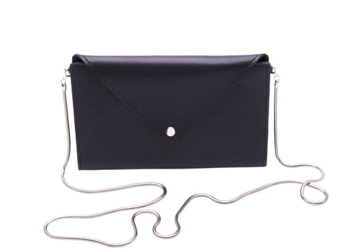 Large Envelope Wallet with Snake Chain Strap Wendy Nichol Black Leather Handbag designer Handmade in NYC wallet clutch cross body simple