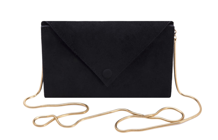 Large Envelope Wallet with Snake Chain Strap Wendy Nichol Black Suede Leather Handbag designer Handmade in NYC wallet clutch cross body simple