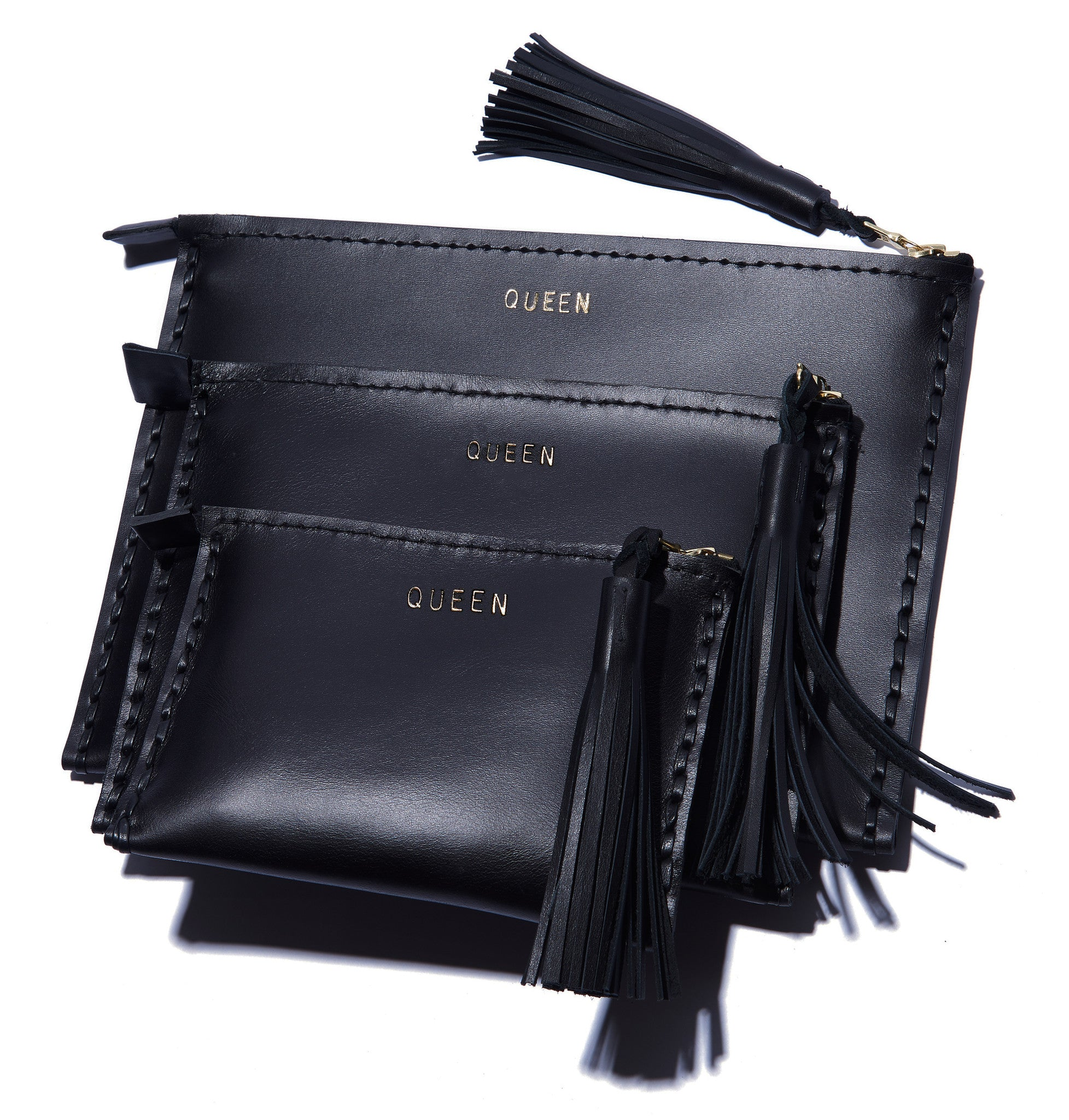 Embossed QUEEN Laced Leather Clutch Pouch Wendy Nichol Luxury Handbags Bag Purse Designer Handmade in NYC New York City Zip Zipper Pouch Wallet Fringe Tassel Embossed Gold Silver Foil Small Medium Large Size Smooth High Quality Black Leather YAS QUEEN CLUTCH
