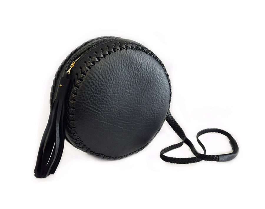 Black Braided Strap Black Large Canteen Bag Wendy Nichol High Quality Leather Handbag Purse Designer Handmade in NYC New York City Round Circle Bag Braided Canteen Zip Zipper fringe Tassel Adjustable Strap cross body durable Custom Made to order