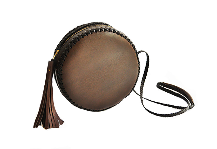 Olive Brown Large Canteen Bag Wendy Nichol High Quality Leather Handbag Purse Designer Handmade in NYC New York City Round Circle Bag Braided Canteen Zip Zipper fringe Tassel Adjustable Strap cross body durable Custom Made to order