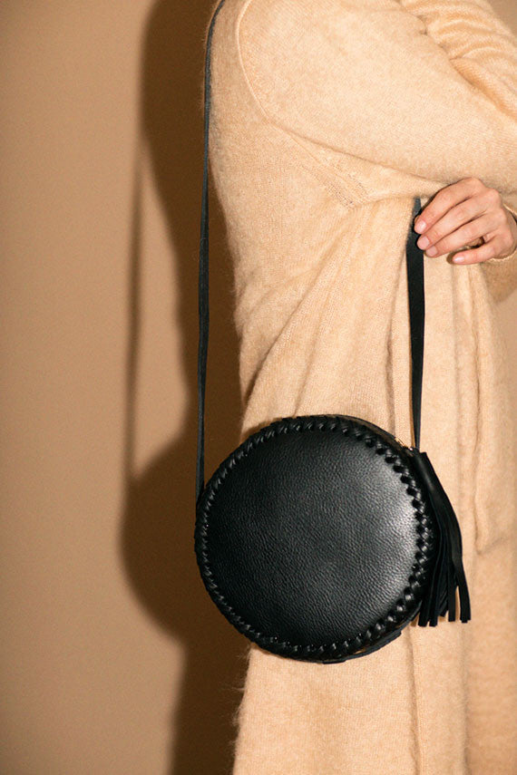 Black Large Canteen Bag Wendy Nichol High Quality Leather Handbag Purse Designer Handmade in NYC New York City Round Circle Bag Braided Canteen Zip Zipper fringe Tassel Adjustable Strap cross body durable Custom Made to order