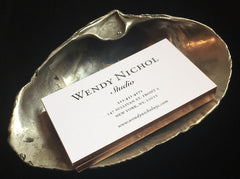 Large Golden Diamond Sea Shell Wendy Nichol Jewelry Designer Sculpture Object solid Brass 3mm Black Diamond Shell Business Cards Card Holder Weed Cigarette Ash Tray Jewelry Box