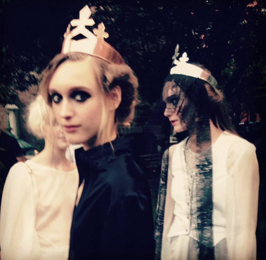 Tabea Weyrauch model Black Leather Queen Crown Wendy Nichol Designer Handmade in NYC New York City cut out Leather Cross Goth Gothic Victorian Medieval Crown Headpiece Headdress Headband Lindsay Lohan Ali Aliana Lohan Wedding Bride Veil Priestess Witch Solveig IMG Model
