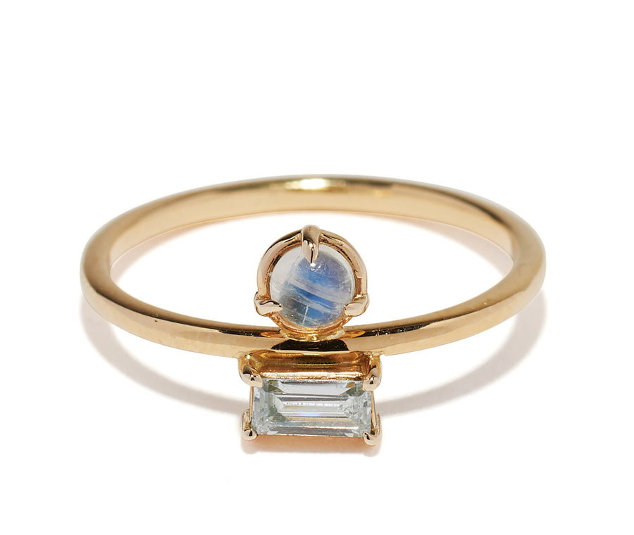 Light Blue Sapphire & Moonstone Bezel Ring Wendy Nichol Fine Jewelry Designer solid 14k Gold Yellow Rose White handmade in NYC New York City Moonstone Cancer June Birthstone Birthday Sapphire Virgo September Birthday Birthstone Egyptian