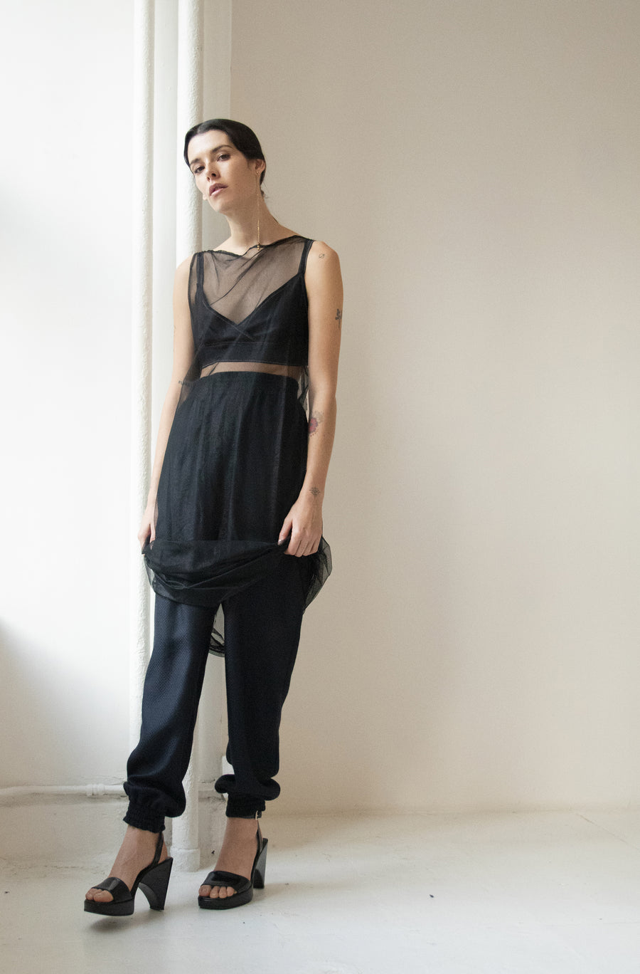 Sheer Shift Dress and Wool Cashmere Ruche Pant