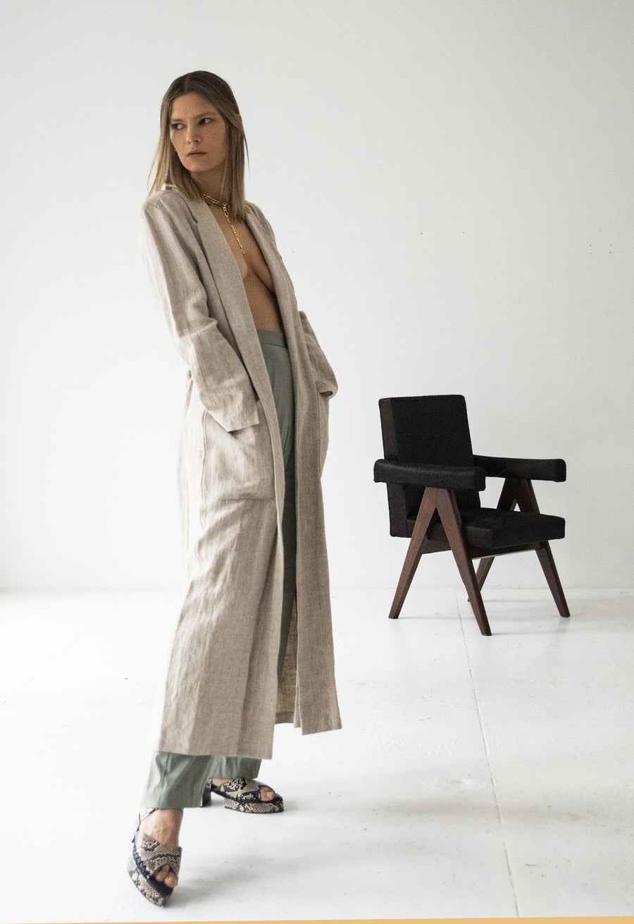 Classic Linen Duster and Green Pleated Pants