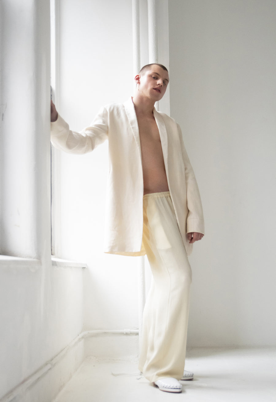 Linen and Silk Dinner Jacket and Silk Relax Pants