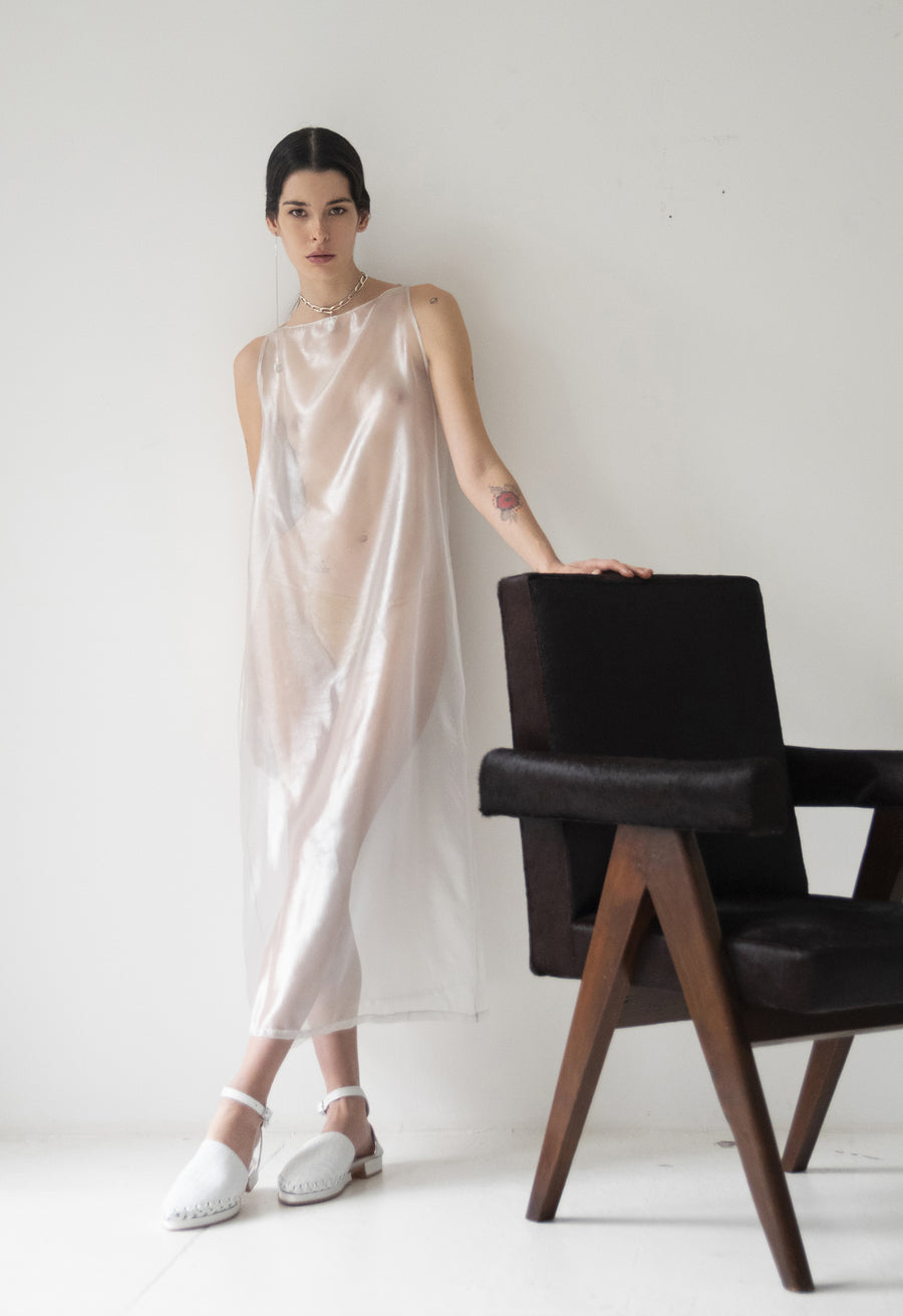 Iridescent White Silk Mesh Shift Dress