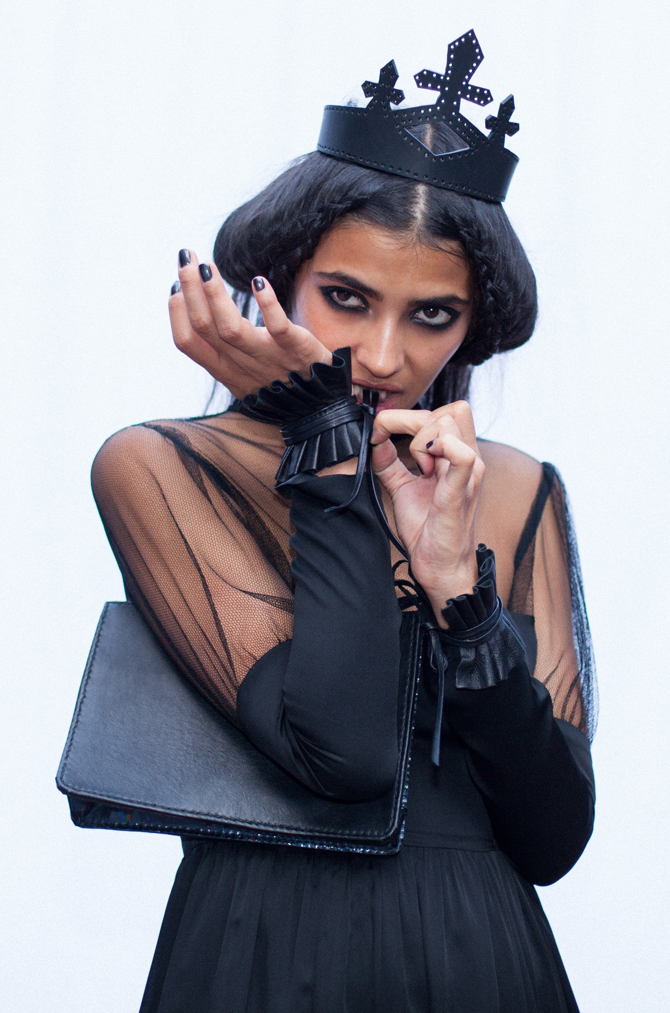 Karina T. IMG Model Edwardian Pleated Black Leather Wrist Cuffs Wendy Nichol Designer Handmade in NYC Victorian Gothic Leather Suede Bow Pleated Cuffs Saints of the Zodiac Fashion Show SS14