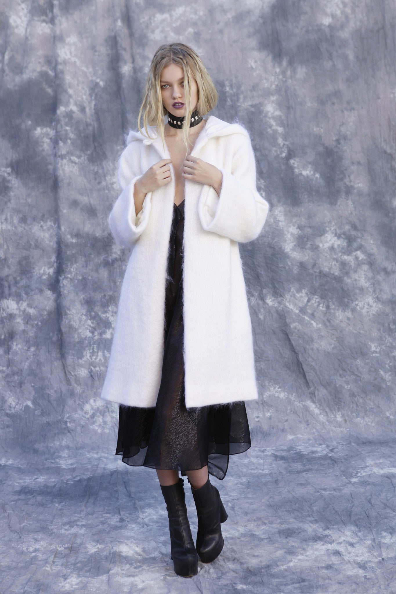 Maggie Laine IMG model Wendy Nichol New York Clothing Designer Handmade in NYC New York City SS17 Fashion Runway Show Signals to the Mothership Made to Order Custom Tailoring Made to Measure Puffy Oversized belted large pockets Silk lining Short Hooded White Cream Mohair Coat Wizard Goth
