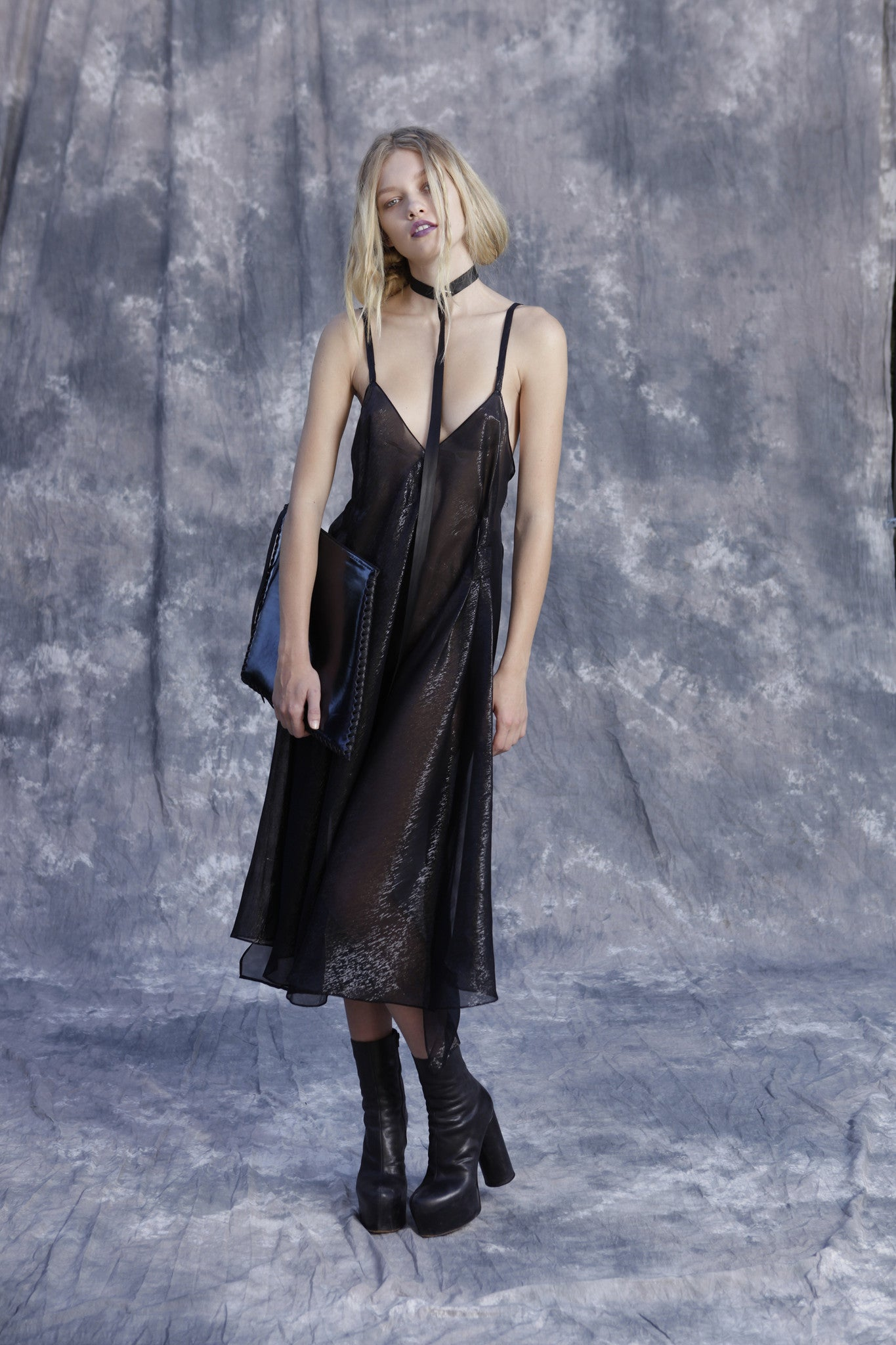 Maggie Laine IMG model Wendy Nichol New York Clothing Designer Handmade in NYC New York City SS17 Fashion Runway Show Signals to the Mothership Made to Order Custom Tailoring Made to Measure Sheer Sparkle Dark Navy Deep V Slip Dress Plunge Neck Low Cut Slip Dress Silk Open back Death Valley Leather Rainbow Holographic Diamond Clutch Leather Triangle Toggle Leather Choker