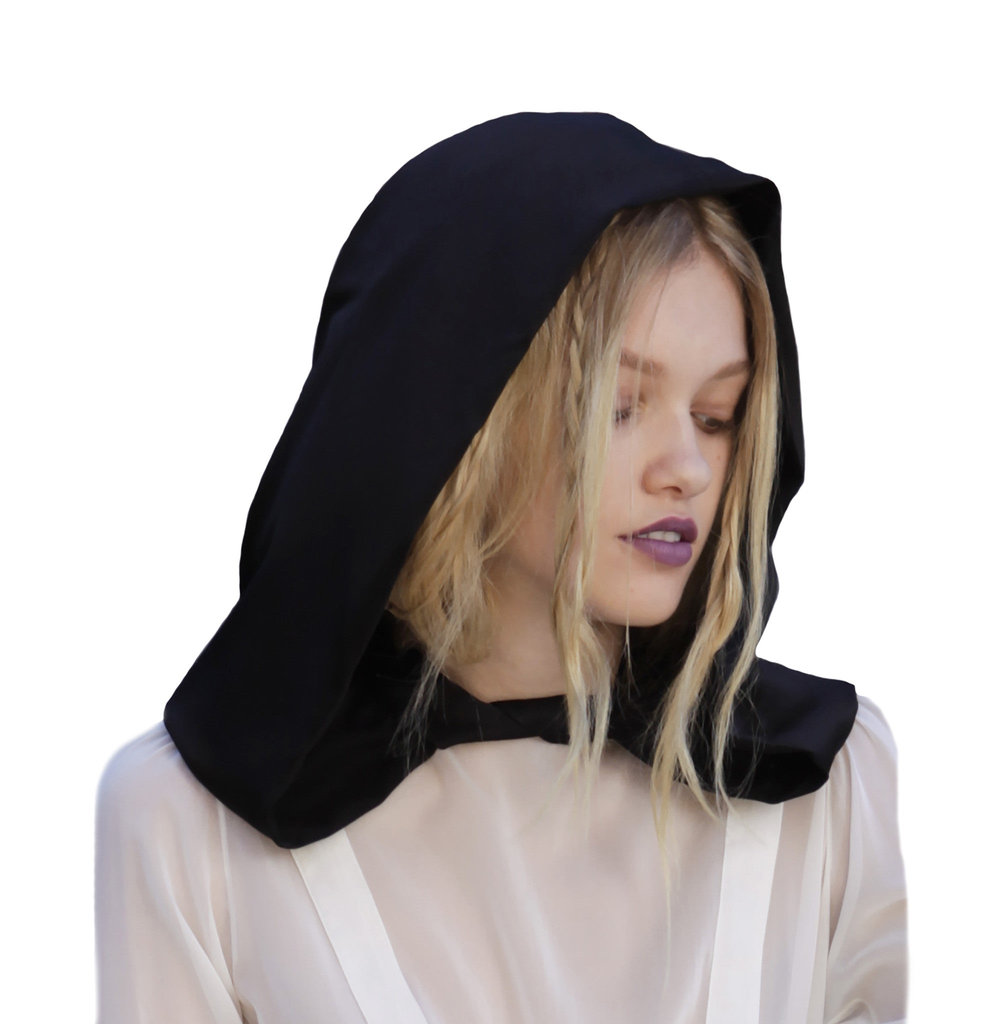 Maggie Laine IMG model Wendy Nichol SS17 Fashion Show Death Valley Silk Charmeuse Hood Handmade in NYC New York City Edwardian Victorian Goth Gothic Bow Tie Hooded
