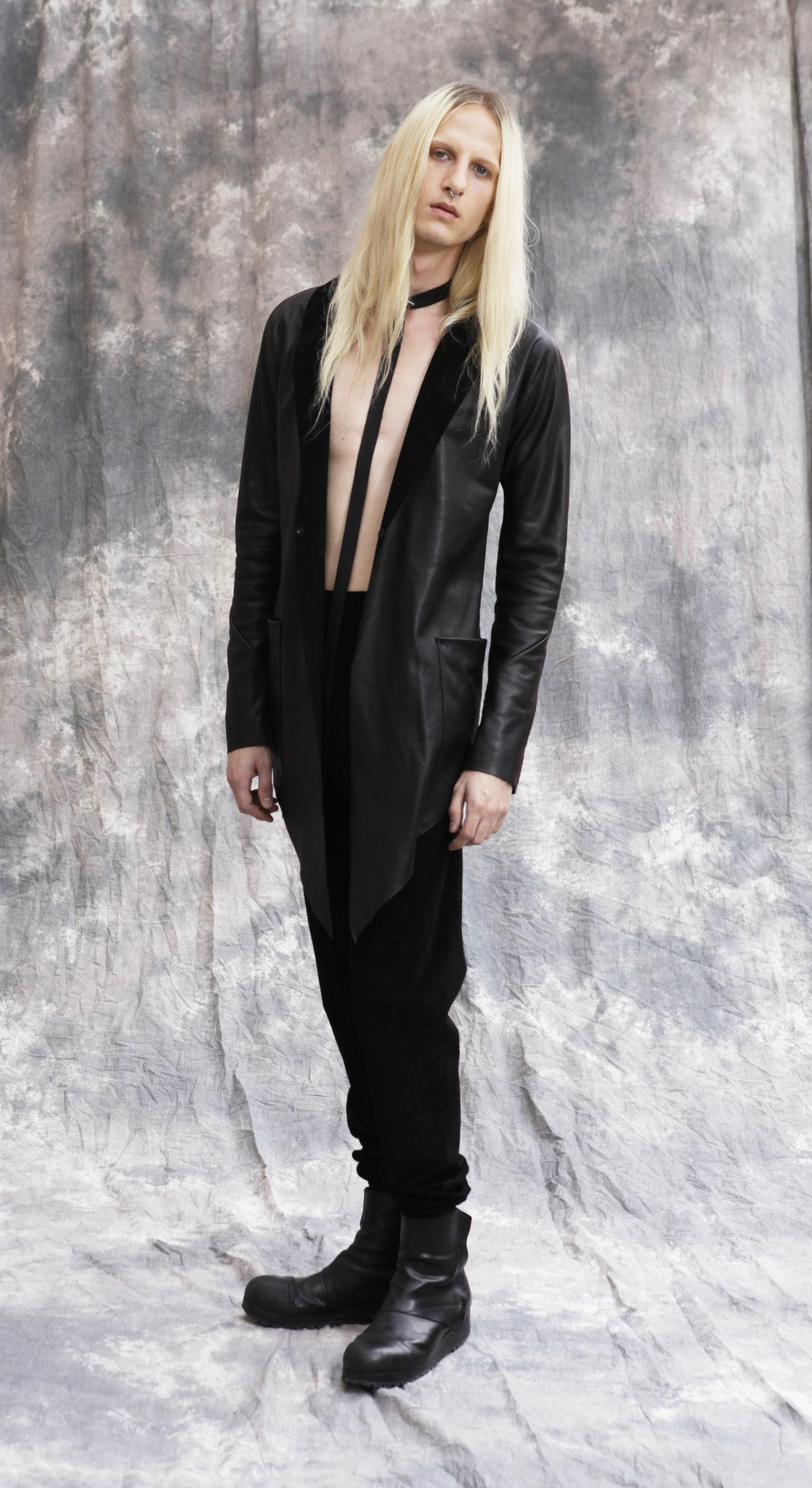 Ryan James Smith Model Wendy Nichol SS17 Fashion Show Leather Choker Suede Ruche Pants