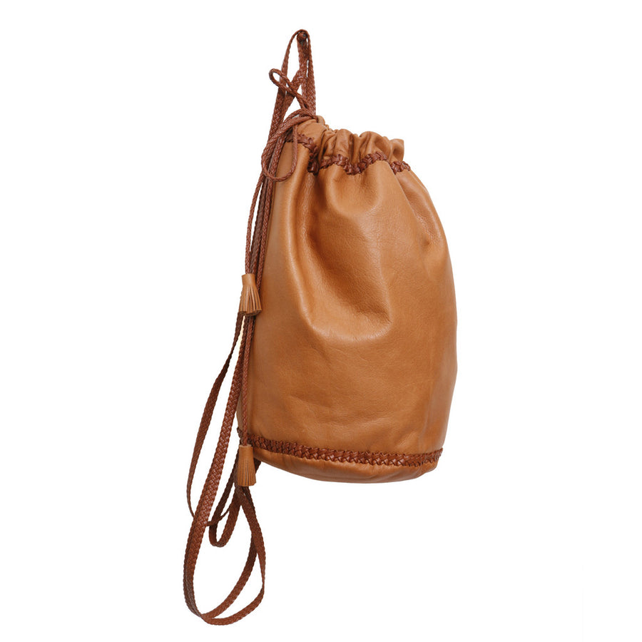 Light Brown Tan Carmel Small Braided Knapsack Backpack Wendy Nichol Handbags Handmade in NYC New York City Soft High Quality Leather Sack Simple braided straps Draw string Drawstring Pouch Bucket Gym Travel Dance Bag