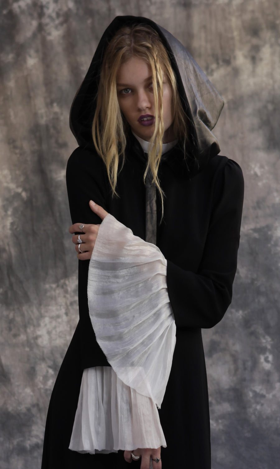 Maggie Laine IMG model Wendy Nichol SS17 Fashion Show Death Valley Reversible Leather & Cashmere Black Hood Handmade in NYC New York City Winter Fall Hat Headpiece Bow Tie Shoulder Cover Reversible Hooded Goth Gothic Pilgrim
