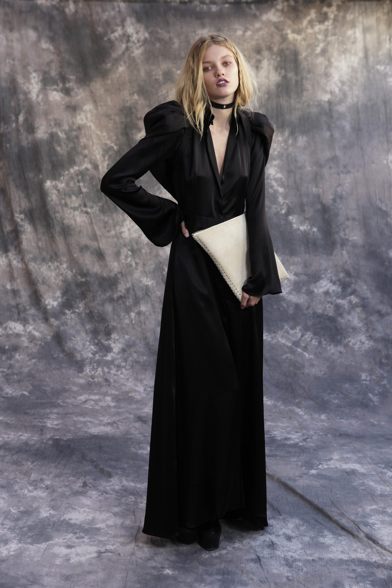 Maggie Laine IMG model Wendy Nichol SS17 Clothing Designer Fashion Runway Show Death Valley Triangle Diamond shape Clutch leather bag choker Vampire Goth Black Sheer Silk Long Bell Sleeve Train Dress with Detachable Hood Puffy Wizard