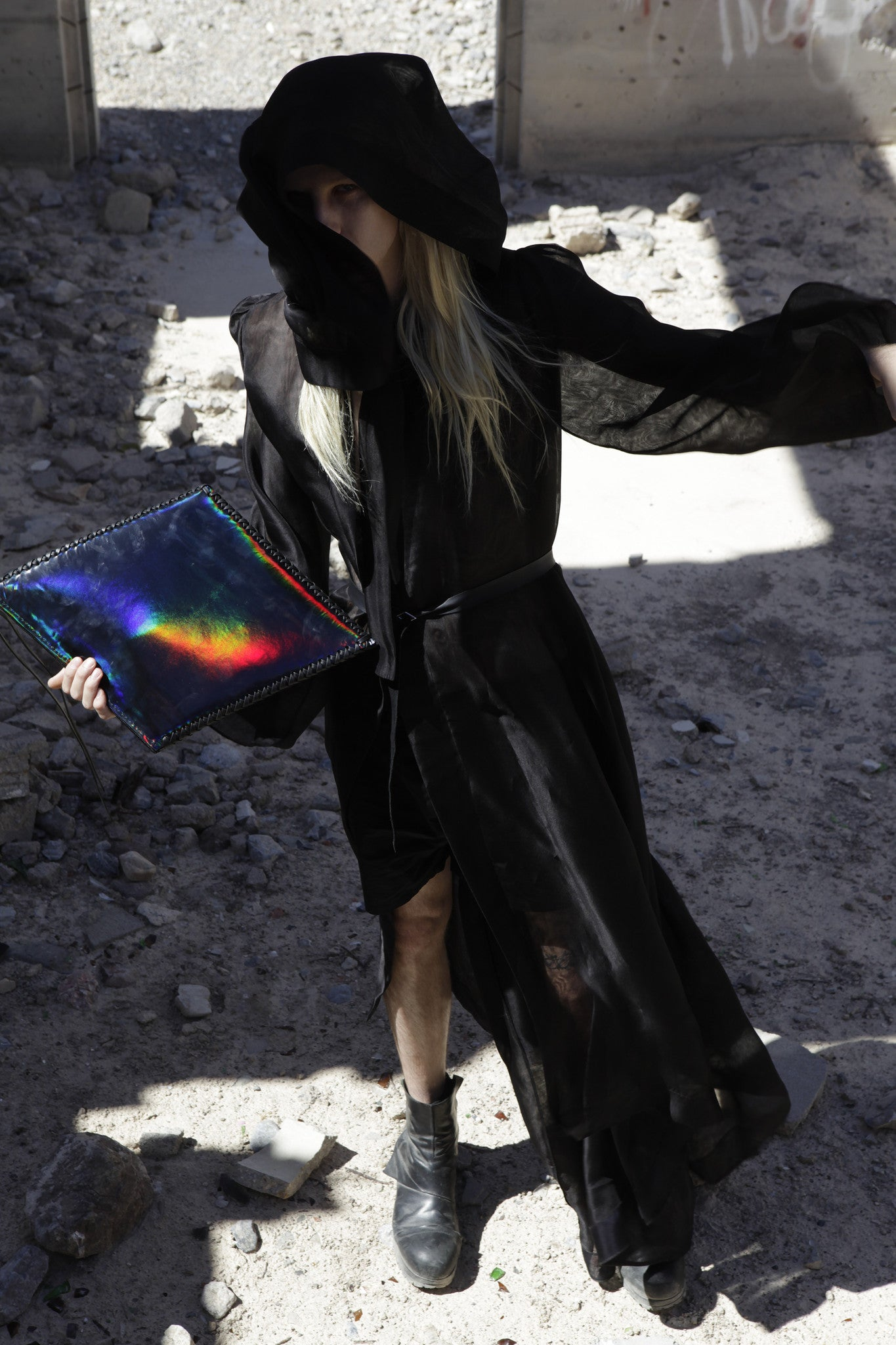 Shiny Reflective Black Rainbow Patent Leather Diamond Kite Shape Clutch Wendy Nichol Luxury Handbag Purse Designer Handmade in NYC New York City Large Thin Structured Clutch Evening Red Carpet High Quality Leather Ryan James Smith Model