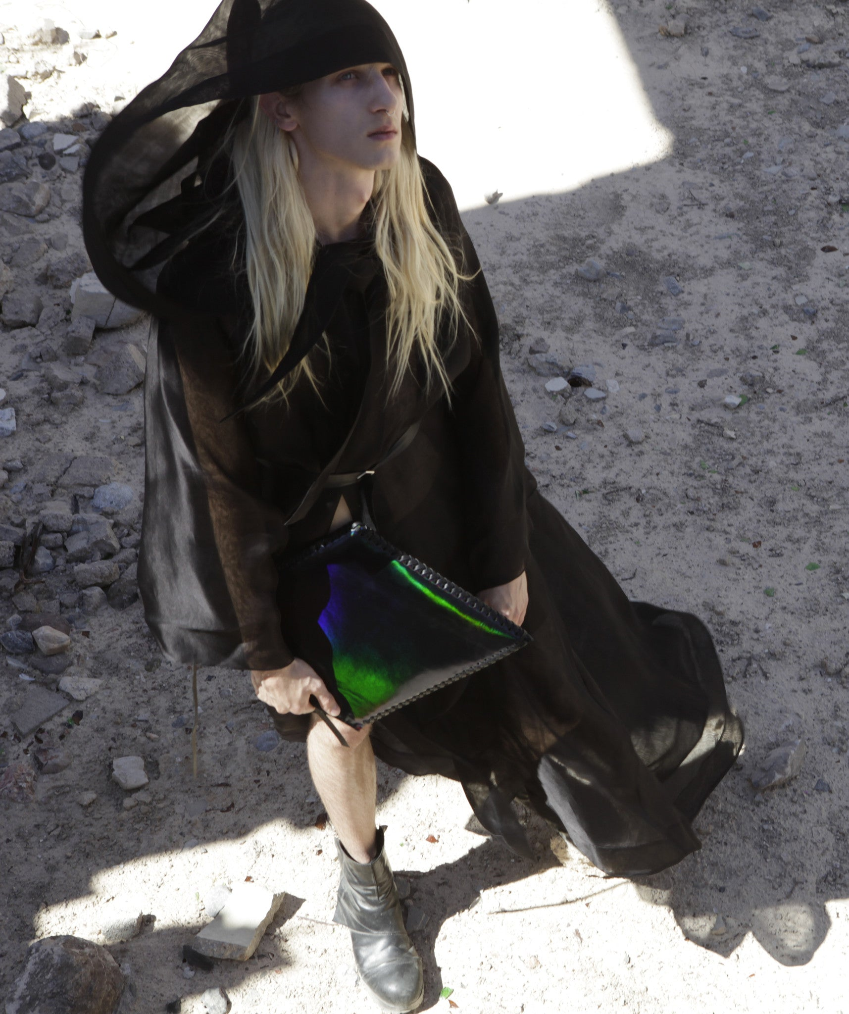 Ryan James Smith model Wendy Nichol New York Clothing Designer Handmade in NYC New York City SS17 Fashion Runway Show Signals to the Mothership Made to Order Custom Tailoring Made to Measure Death Valley Black Sheer Hood Hooded Cape Cloak Coat Belle Sleeves Long Train Oversized Hood Gothic Goth Pagan Witch High Priestess Sorceress Magician Wizard
