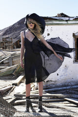 Maggie Laine IMG model Wendy Nichol New York Clothing Designer Handmade in NYC New York City SS17 Fashion Runway Show Signals to the Mothership Made to Order Custom Tailoring Made to Measure Sheer Sparkle Dark Navy Deep V Slip Dress Plunge Neck Low Cut Slip Dress Silk Open back Death Valley Leather Triangle Toggle Leather Choker Silk Puffy Hood