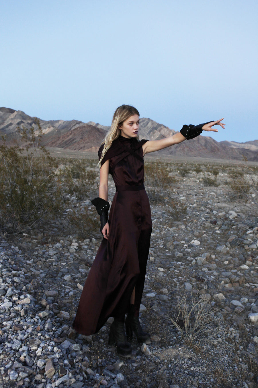 Maggie Laine IMG model Wendy Nichol New York Clothing Designer Handmade in NYC New York City SS17 Fashion Runway Show Signals to the Mothership Made to Order Custom Tailoring Made to Measure Death Valley Burgundy Ox Blood Maroon Silk Satin Charmeuse Hood Hooded Cross Tie Apron Sleeveless Dress button down Belle Beauty and the Beast Pagan Witch High Priestess Sorceress Single Finger Fingerless Leather Gloves