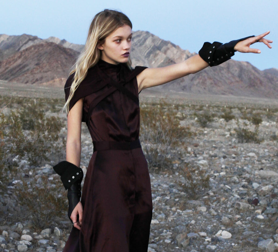 Maggie Laine IMG model Wendy Nichol SS17 Fashion Show Death Valley Single Finger Cross Leather Gloves Wendy Nichol Designer Handmade in NYC New York City black Leather Fingerless Smoker Driving Gloves Archery Archer Witch Vampire Dracula Glove Gloves