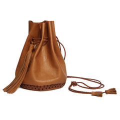 Canyon Light Brown Tan Leather Signature Classic Bullet Bag Wendy Nichol Handmade in NYC New York City Leather Drawstring Bucket Pouch Purse Handbag Large Fringe Tassel Custom Made to Order
