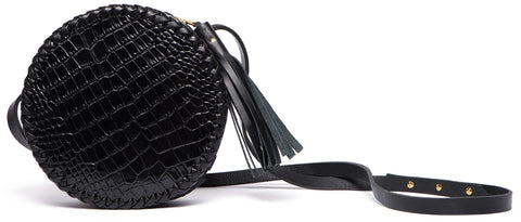 Black Shiny Reflective Embossed Croc Crocodile Alligator Cowhide Leather Medium Canteen Bag Wendy Nichol Handbag Purse Designer Handmade in NYC New York City Adjustable Cross Body Strap Zip Zipper small Fringe Tassel Braided Round Circle Bag High Quality Leather