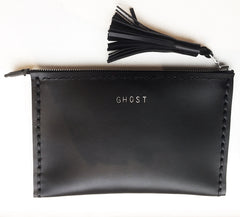 GHOST AW16 13 Incarnations Leather Medium Laced Clutch Pouch Custom Embossed Initial Letter Monogram Card Phone Wallet Clutch Wendy Nichol Designer Purse handbags Handmade in NYC New York City Zip Zipper Pouch Smooth Black High Quality Leather Fringe Tassel Gold Silver Foil