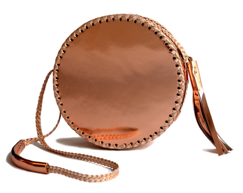 Shiny Reflective Large Metallic Copper Rose Gold Mirror Canteen Bag Wendy Nichol Patent Leather Handbag Designer Purse Handmade in NYC New York City High Quality Leather Circle Round Large Medium Small Size Sized
